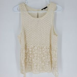 American Eagle large lace tank top boho cream